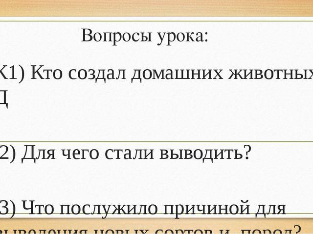 Вопросы урока: К1) Кто создал домашних животных? Д 2) Для чего стали выводить...