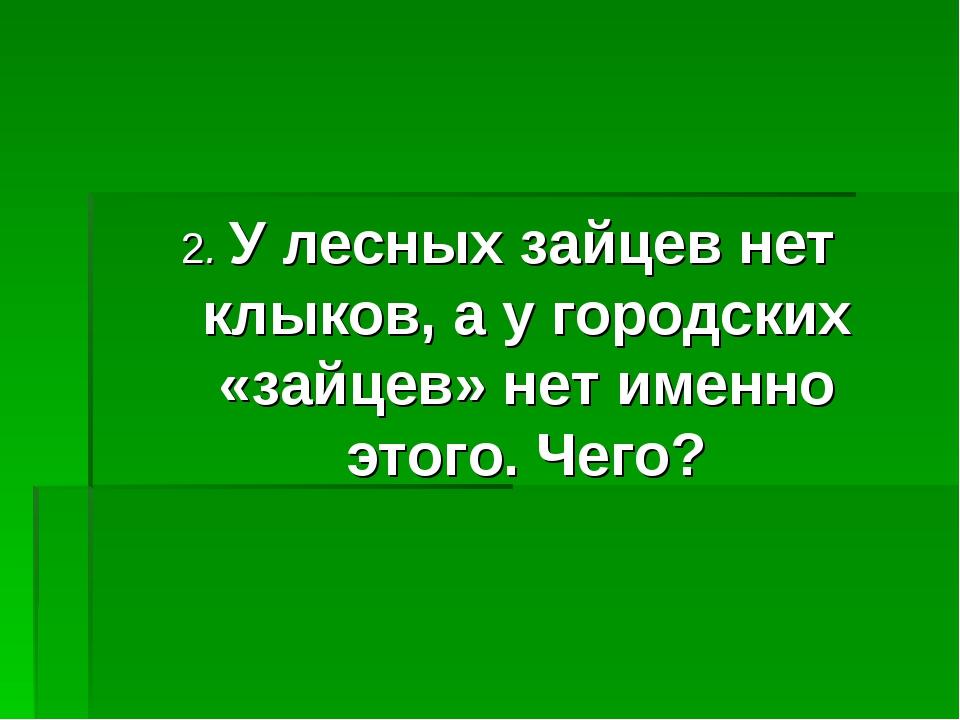 2. У лесных зайцев нет клыков, а у городских «зайцев» нет именно этого. Чего?