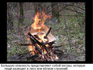 Большую опасность представляют собой костры, которые люди разводят в лесу или