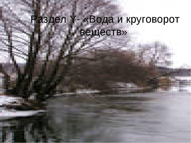 Раздел Y- «Вода и круговорот веществ»