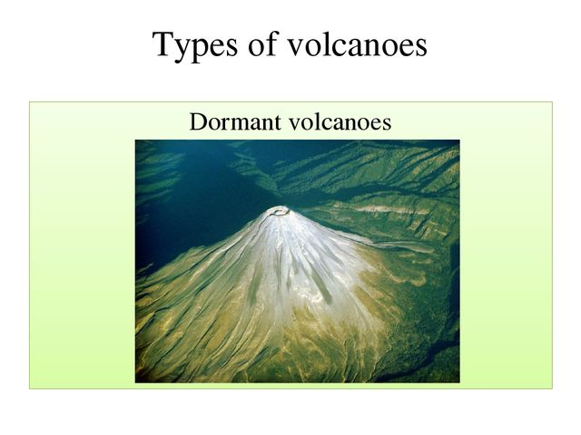 Types of volcanoes Dormant volcanoes