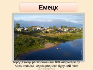 Город Емецк расположен на 168 километре от Архангельска. Здесь родился будущи