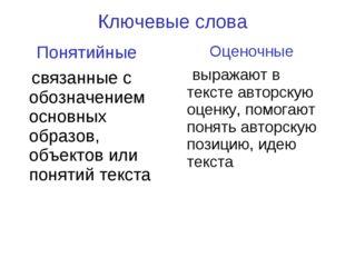 Ключевые слова Понятийные связанные с обозначением основных образов, объектов