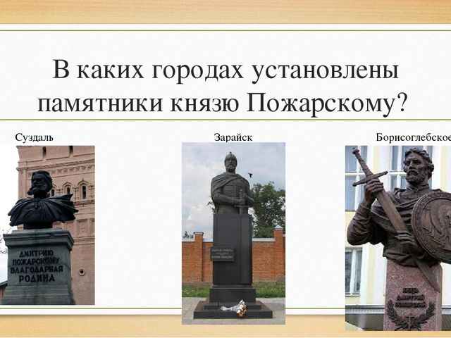 В каких городах установлены памятники князю Пожарскому? Суздаль Зарайск Борис...