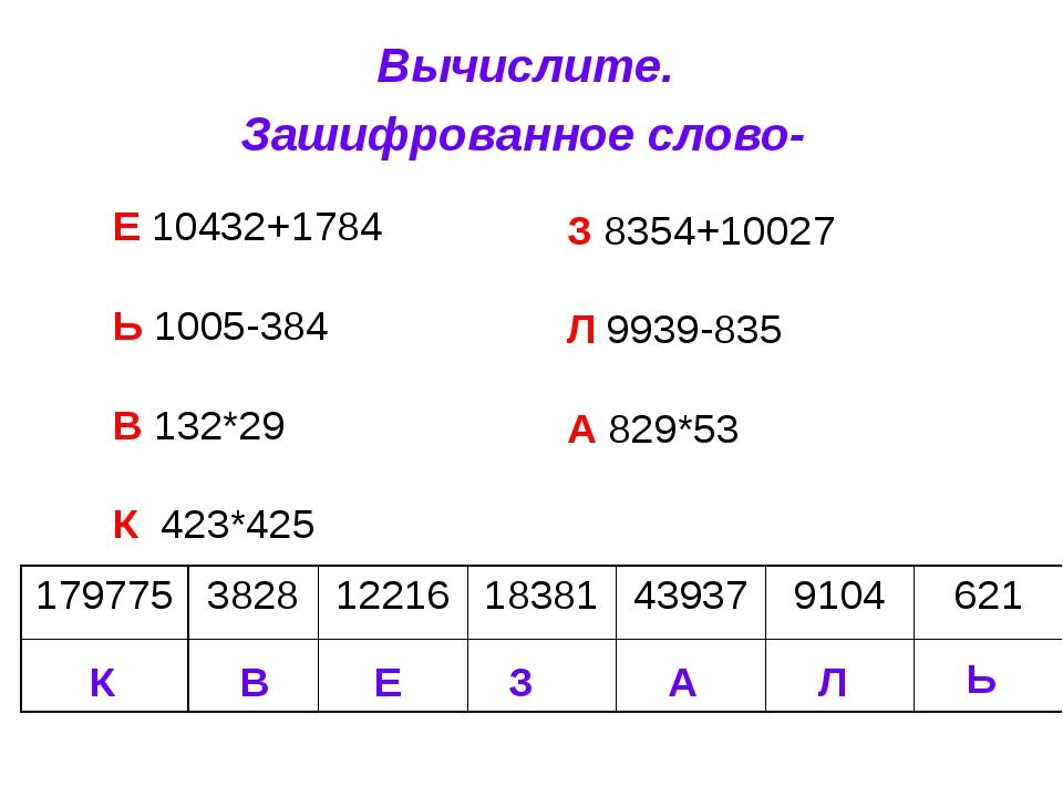 Вычислите. Зашифрованное слово- Е 10432+1784 Ь 1005-384 В 132*29 К 423*425 З...
