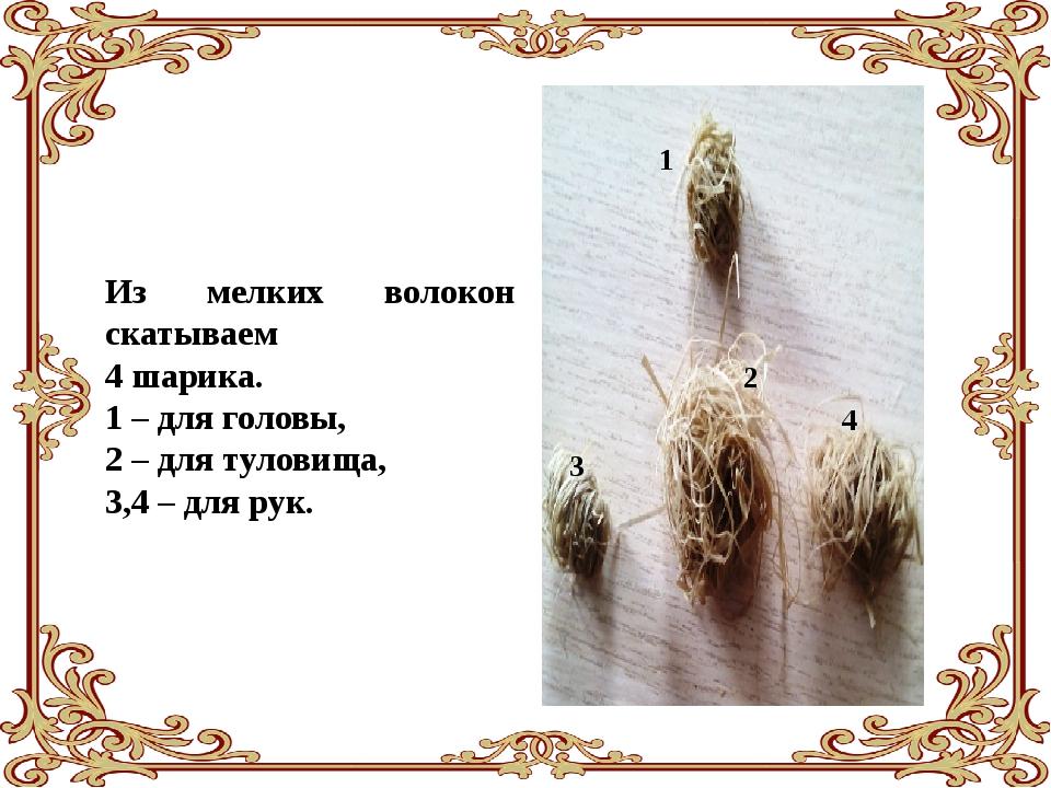 Из мелких волокон скатываем 4 шарика. 1 – для головы, 2 – для туловища, 3,4 –...
