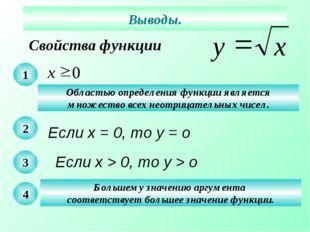 Свойства функции Выводы. 1 Областью определения функции является множество вс