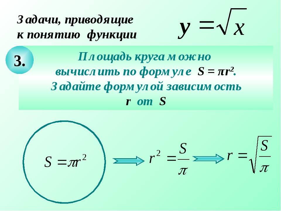 Задачи, приводящие к понятию функции Площадь круга можно вычислить по формуле...