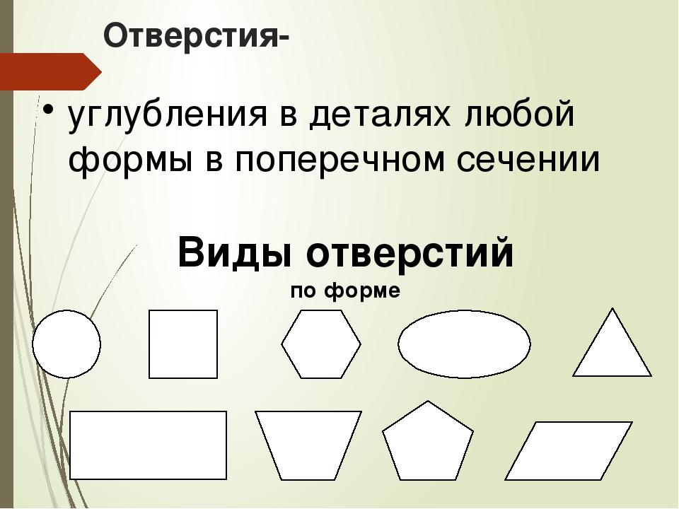 Отверстия- углубления в деталях любой формы в поперечном сечении Виды отверст...