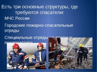 Есть три основные структуры, где требуются спасатели: МЧС России Городские по