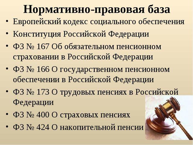 Нормативно-правовая база Европейский кодекс социального обеспечения Конституц...