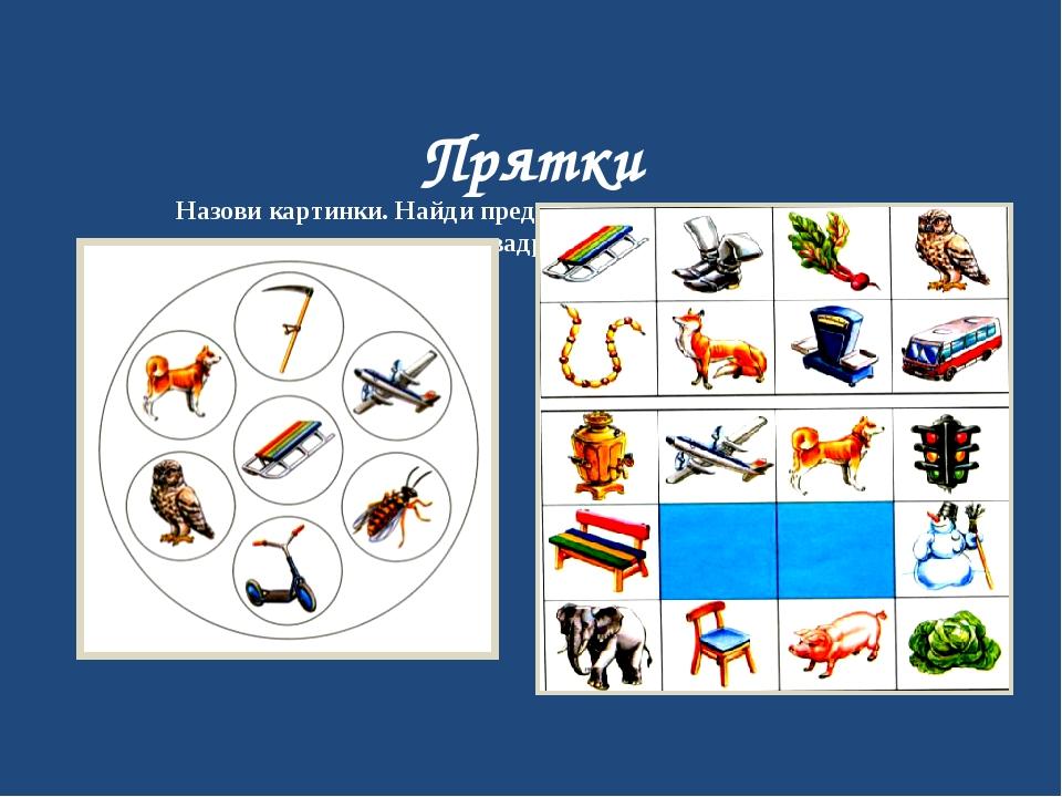 Прятки Назови картинки. Найди предметы из кругов, которых нет в квадратах.