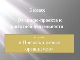 5 класс От микро-проекта к проектной деятельности Урок №1 « Признаки живых ор