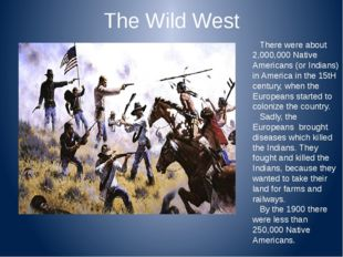The Wild West There were about 2,000,000 Native Americans (or Indians) in Ame