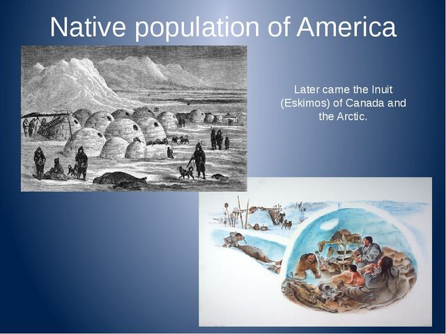 Native population of America Later came the Inuit (Eskimos) of Canada and the...