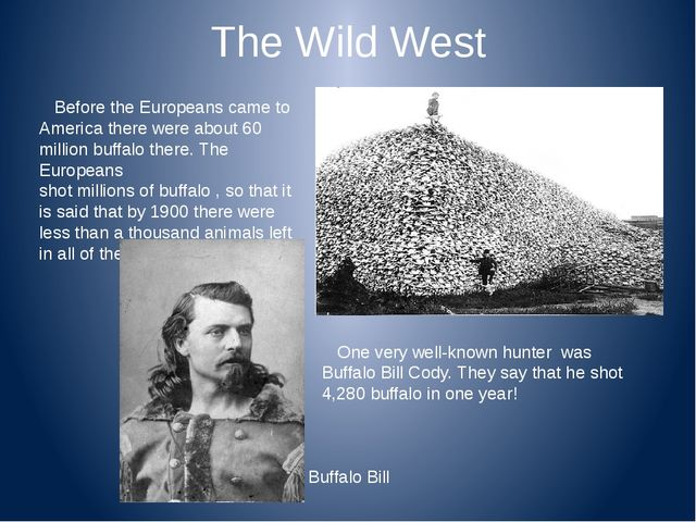 The Wild West Before the Europeans came to America there were about 60 millio...