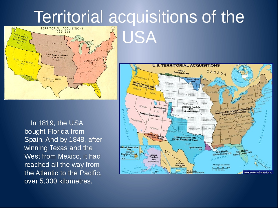 Territorial acquisitions of the USA In 1819, the USA bought Florida from Spai...