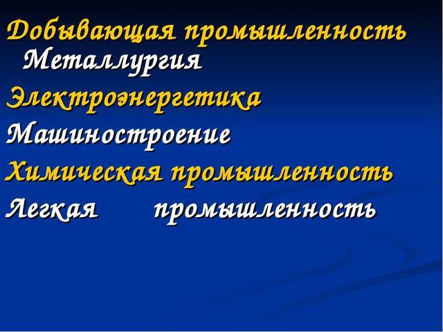 Добывающая промышленность Металлургия Электроэнергетика Машиностроение Химич...