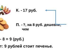 17 руб. ?, на 8 руб. дешевле, чем К. - П. - 17 – 8 = 9 (руб.) Ответ: 9 рублей