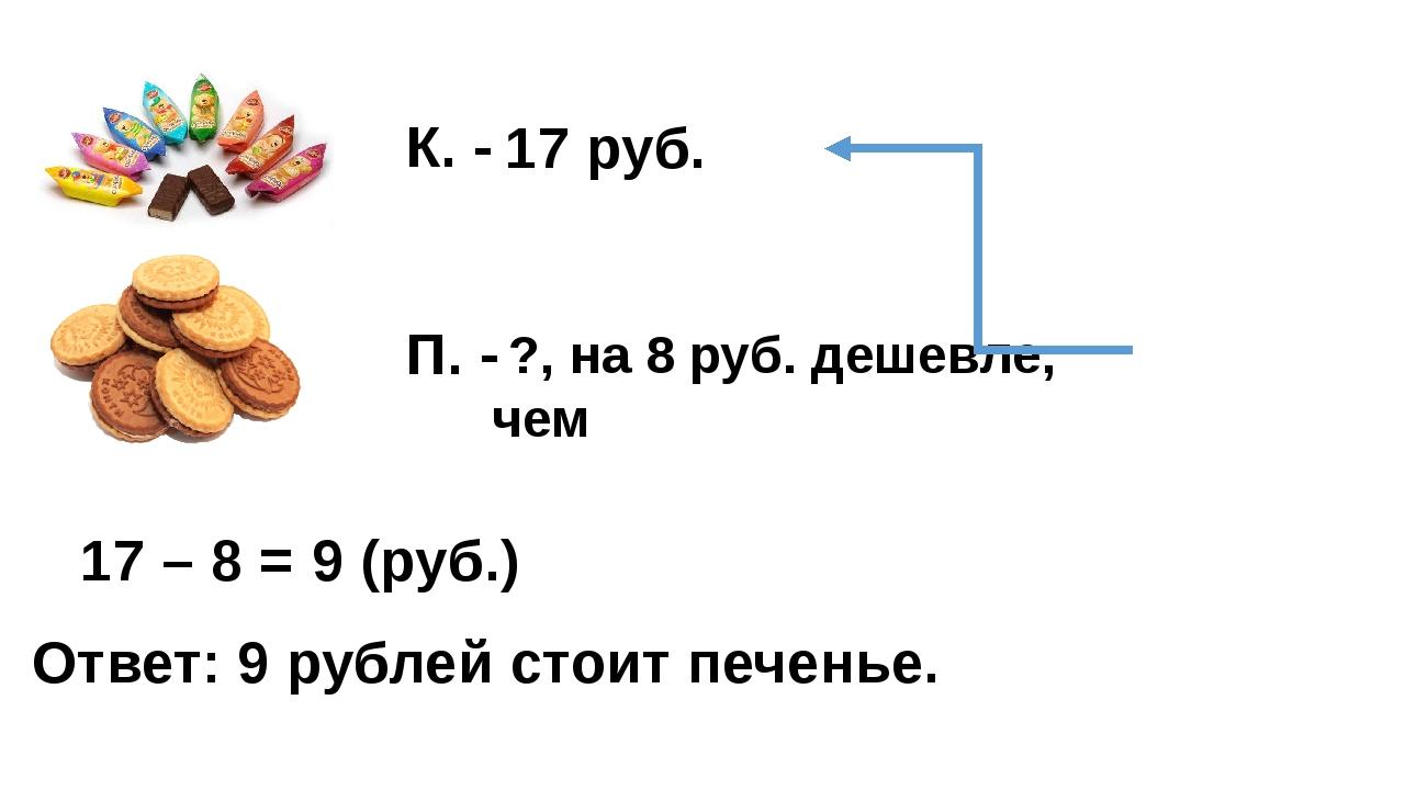 17 руб. ?, на 8 руб. дешевле, чем К. - П. - 17 – 8 = 9 (руб.) Ответ: 9 рублей...