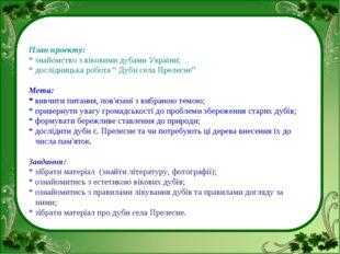 """План проекту: * знайомство з віковими дубами України; * дослідницька робота """""""