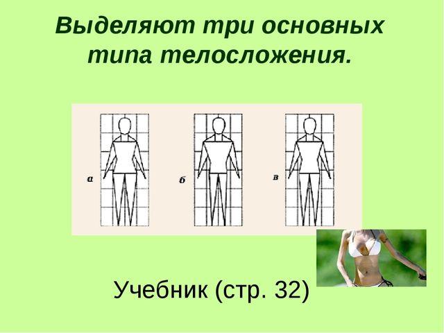 Выделяют три основных типа телосложения. Учебник (стр. 32)