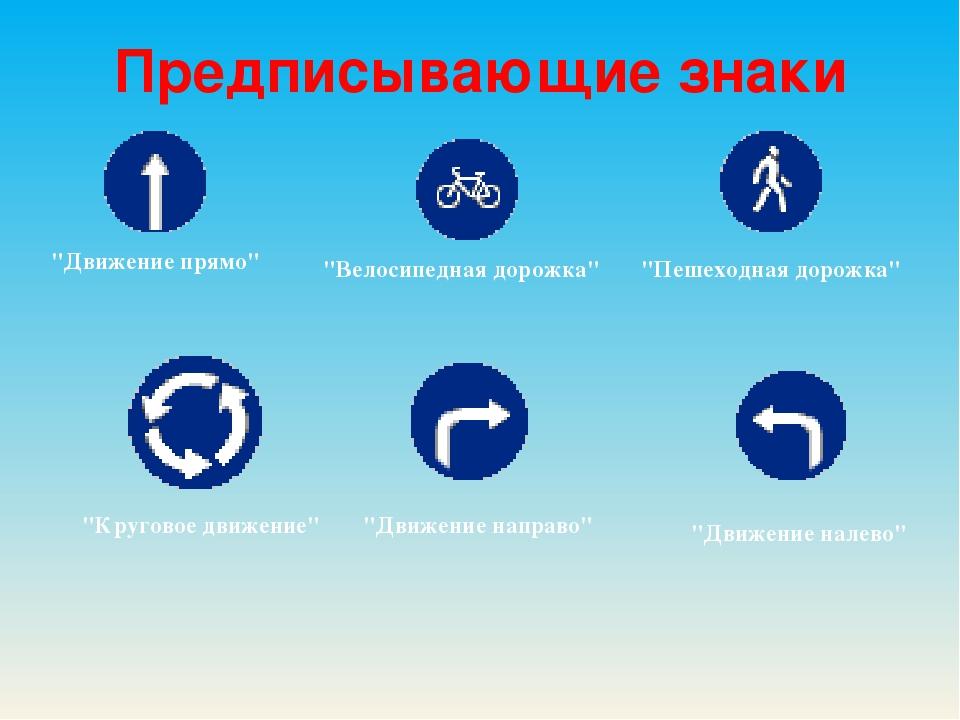 """Предписывающиезнаки """"Движение прямо"""" """"Пешеходная дорожка"""" """"Велосипедная доро..."""