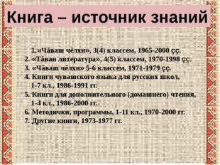 Книга – источник знаний «Чăваш чĕлхи», 3(4) классем, 1965-2000 çç. 2. «Тăван