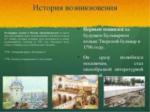 История возникновения Бульварное кольцо в Москве сформировалось на месте неко