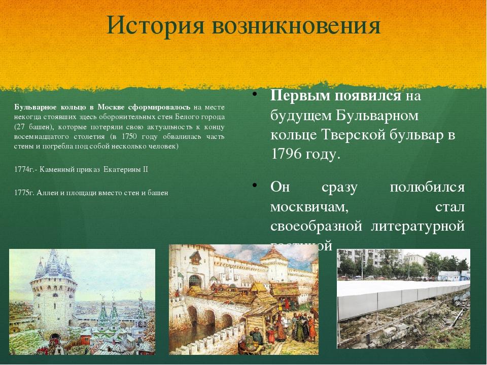 История возникновения Бульварное кольцо в Москве сформировалось на месте неко...