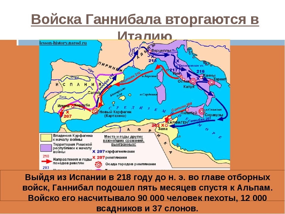 Войска Ганнибала вторгаются в Италию Выйдя из Испании в 218 году до н. э. во...