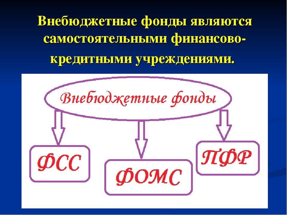 Внебюджетные фонды являются самостоятельными финансово-кредитными учреждениями.