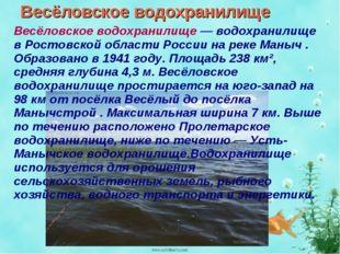 Весёловское водохранилище Весёловское водохранилище — водохранилище в Ростовс