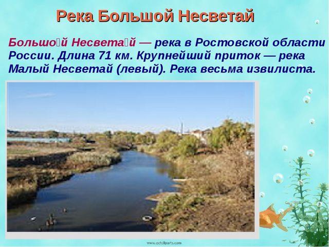 Река Большой Несветай Большо́й Несвета́й — река в Ростовской области России....