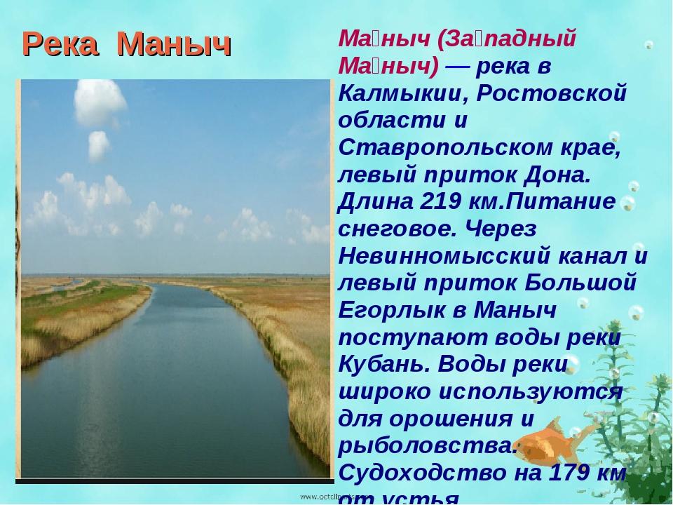 Река Маныч Ма́ныч (За́падный Ма́ныч) — река в Калмыкии, Ростовской области и...