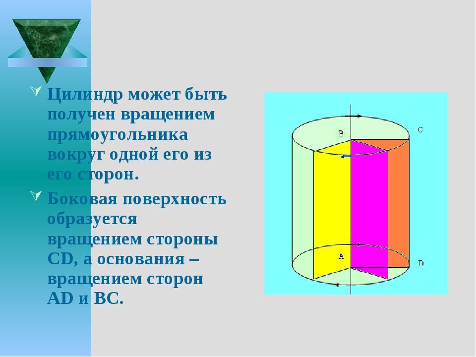 Цилиндр может быть получен вращением прямоугольника вокруг одной его из его с...