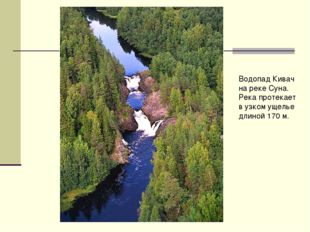 Водопад Кивач на реке Суна. Река протекает в узком ущелье длиной 170 м.