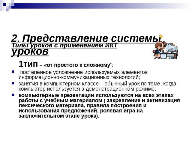 2. Представление системы уроков Типы уроков с применением ИКТ 1тип – «от про...
