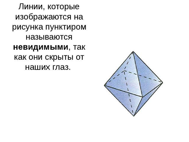 Линии, которые изображаются на рисунка пунктиром называются невидимыми, так к...