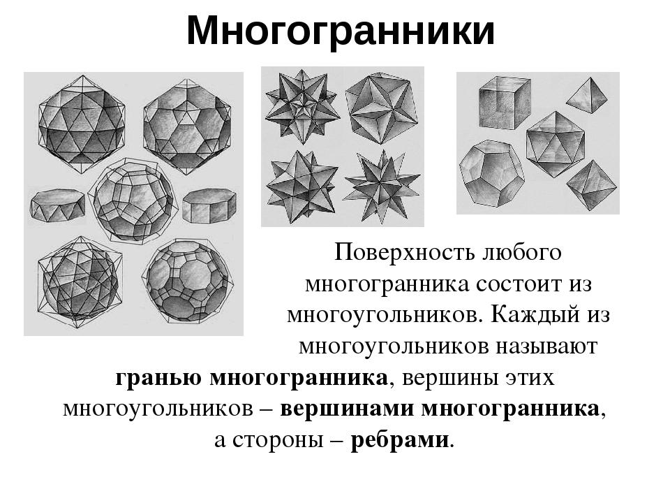 Многогранники Поверхность любого многогранника состоит из многоугольников. Ка...