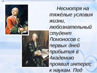 Серьёзное отношение Ломоносова к научным занятиям выделяло его из общей масс
