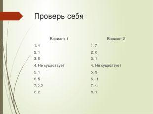 Проверь себя Вариант 1 1. 4 2. 1 3. 0 4. Не существует 5. 1 6. 5 7. 0,5 8. 2
