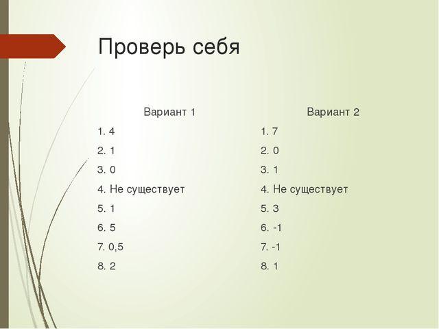 Проверь себя Вариант 1 1. 4 2. 1 3. 0 4. Не существует 5. 1 6. 5 7. 0,5 8. 2...