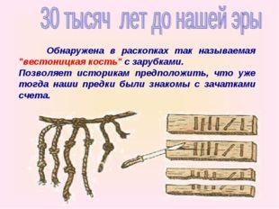 """Обнаружена в раскопках так называемая """"вестоницкая кость"""" с зарубками. По"""