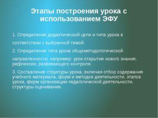 Этапы построения урока с использованием ЭФУ 1. Определение дидактической цели