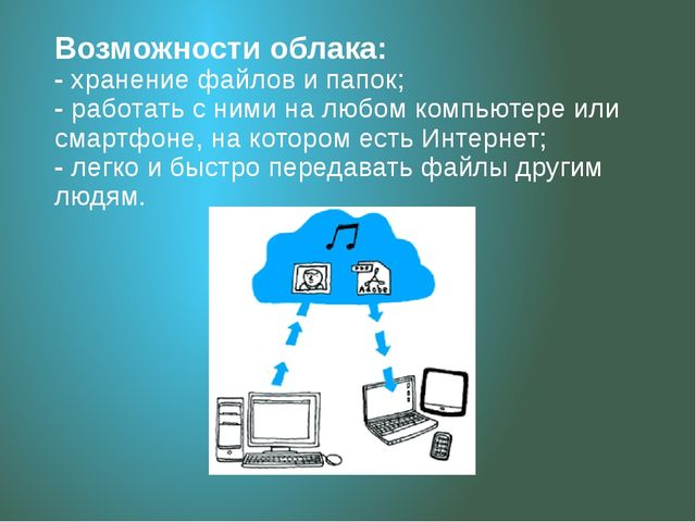 Возможности облака: - хранение файлов и папок; - работать с ними на любом ком...