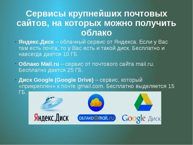 Сервисы крупнейших почтовых сайтов, на которых можно получить облако Яндекс.Д...
