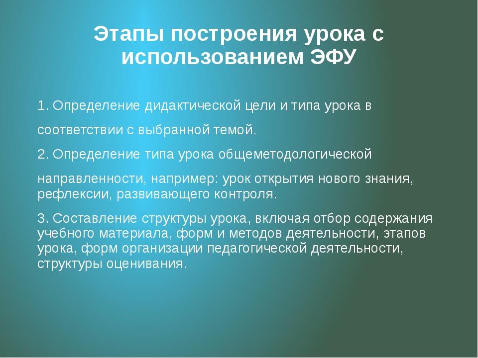 Этапы построения урока с использованием ЭФУ 1. Определение дидактической цели...
