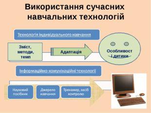 Використання сучасних навчальних технологій Зміст, методи, темп Адаптація Осо