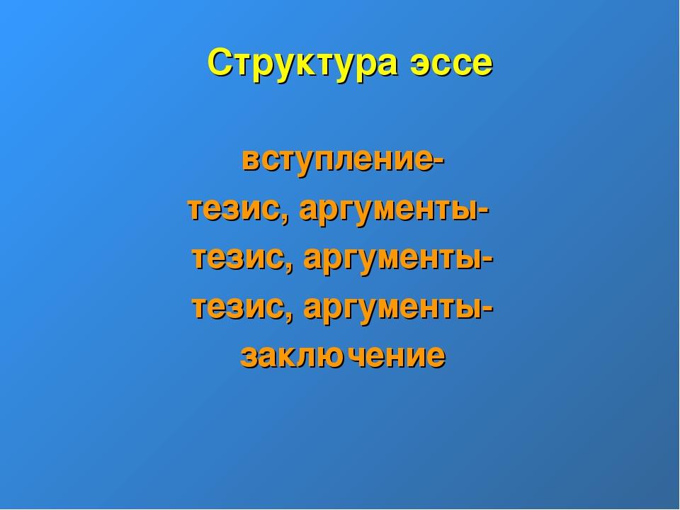 Структура эссе вступление- тезис, аргументы- тезис, аргументы- тезис, аргумен...